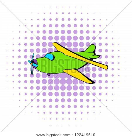 Biplane icon in comics style on a white background