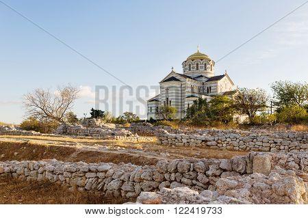 Ruins of Chersonesus - ancient Greek town near modern Sevastopol. St. Vladimir's Cathedral. UNESCO World Heritage Site. Crimea Russia.