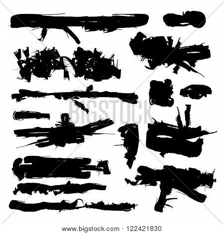 Set of Black Grunge Brush ink Stroke. Abstract artistic hand painted spots. Vector brush stains stroke
