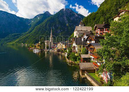 Pictoresque Hallstatt town in summer, Alps, Austria