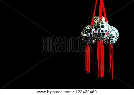Chinese Disco balls Mirror Balls Isolated on Dark Background