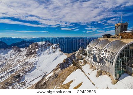 Modern architecture on Zugspitze mountain Alps Germany