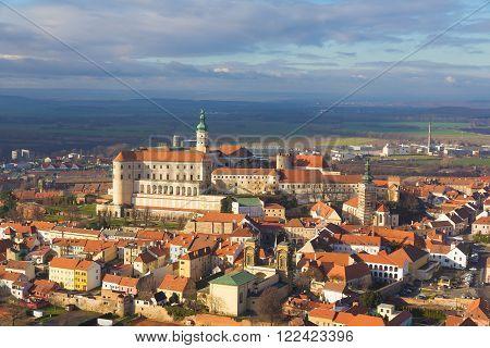 Mikulov castle Southern Moravia Czech Republic cloudy sky