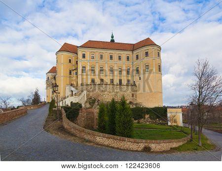 Mikulov castle, Southern Moravia, Czech Republic, cloudy sky