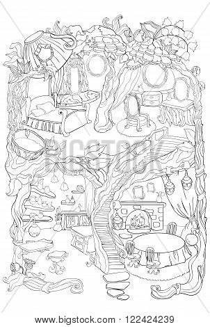 Vector colouring illustration of fairy house with a bedroom, dressing room and dinner room