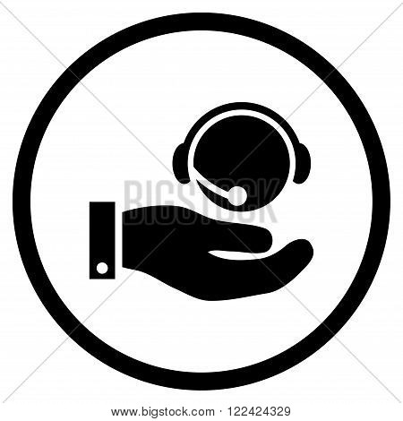 Call Center Service vector icon. Picture style is flat call center service rounded icon drawn with black color on a white background.
