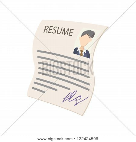 Resume icon in comics style on a white background