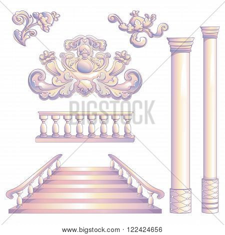Vector illustration of ancient decoration set of column, symbol and stairway