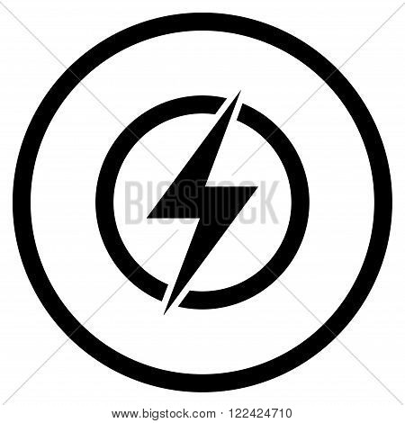 Electricity vector icon. Picture style is flat electricity rounded icon drawn with black color on a white background.