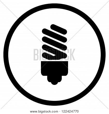 Fluorescent Bulb vector icon. Picture style is flat fluorescent bulb rounded icon drawn with black color on a white background.