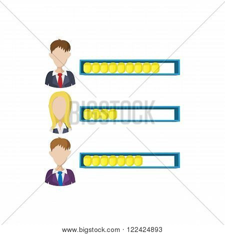 Ranking office worker icon in cartoon style on a white background