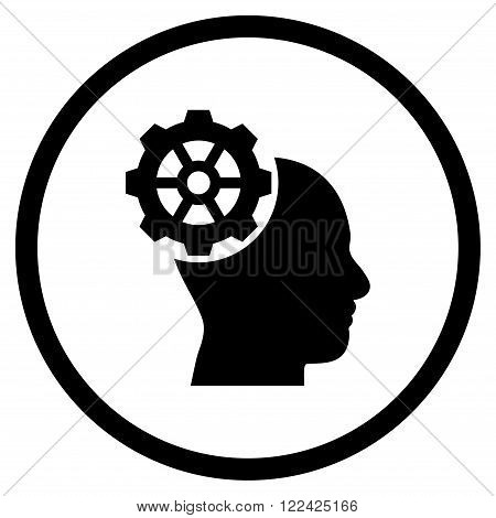 Head Gear vector icon. Picture style is flat head gear rounded icon drawn with black color on a white background.