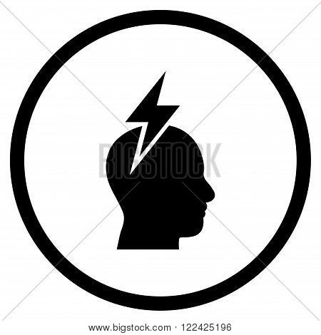 Headache vector icon. Picture style is flat headache rounded icon drawn with black color on a white background.