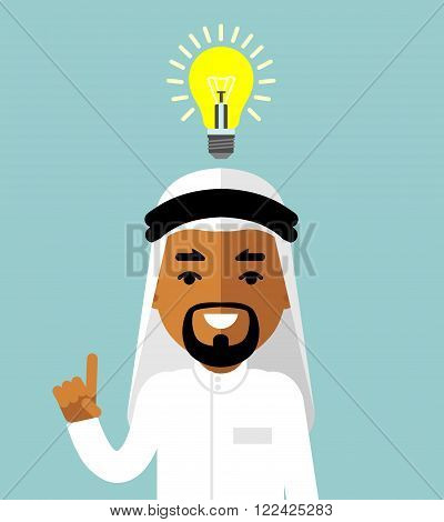 Symbol of having an idea with saudi arab businessman pointing at light bulb