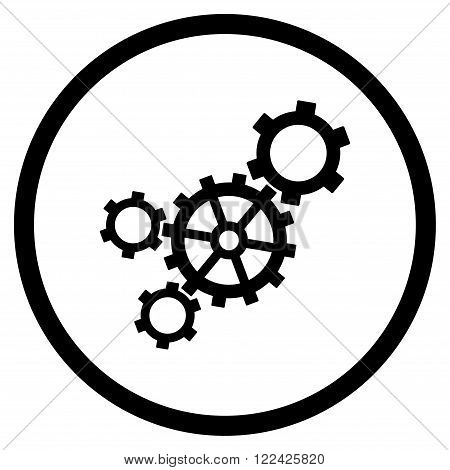 Mechanism vector icon. Picture style is flat mechanism rounded icon drawn with black color on a white background.