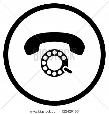 Pulse Dialing vector icon. Picture style is flat pulse dialing rounded icon drawn with black color on a white background.