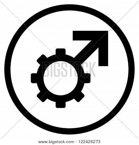 Technological Potence vector icon. Picture style is flat technological potence rounded icon drawn with black color on a white background.