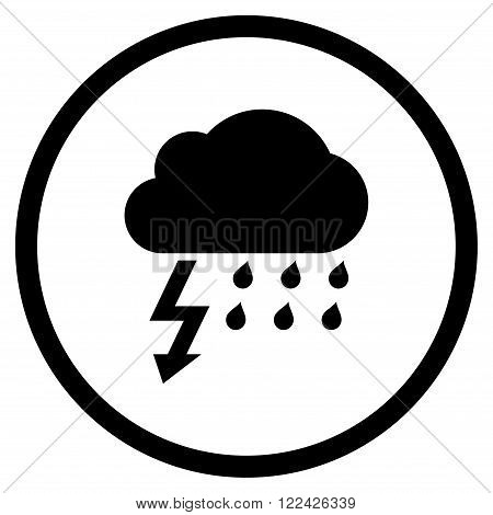 Thunderstorm vector icon. Picture style is flat thunderstorm rounded icon drawn with black color on a white background.