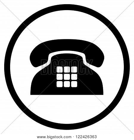 Tone Telephone vector icon. Picture style is flat tone phone rounded icon drawn with black color on a white background.