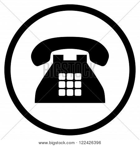Tone Phone vector icon. Picture style is flat tone phone rounded icon drawn with black color on a white background.