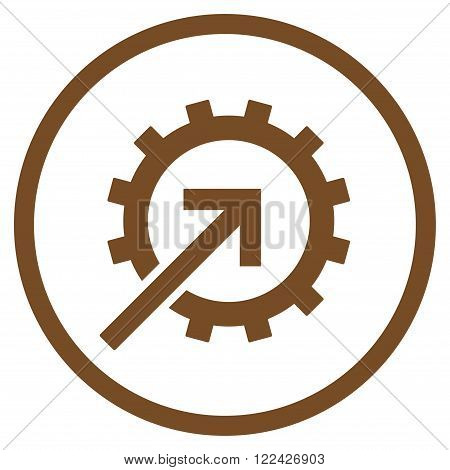 Cog Integration vector icon. Picture style is flat cog integration rounded icon drawn with brown color on a white background.