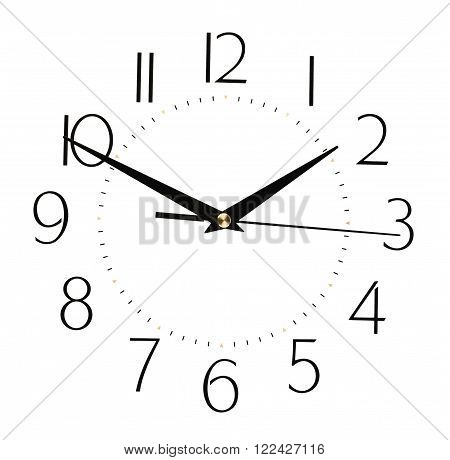 clock face isolated on white background - time concept. The time on the clock 13-50
