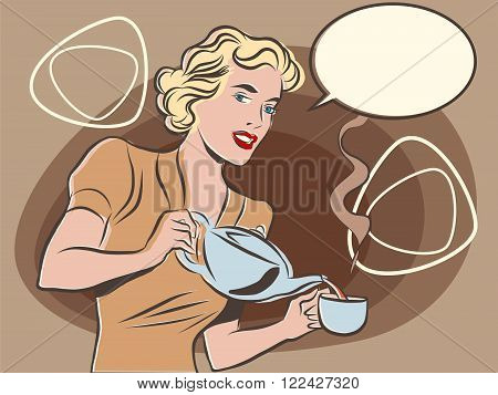 The waitress pours tea pop art line art comic retro. Retro waiter. Restaurant hot drink. pastel retro colors