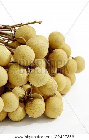Thai Fruit Fresh Longans Isolated on White Background