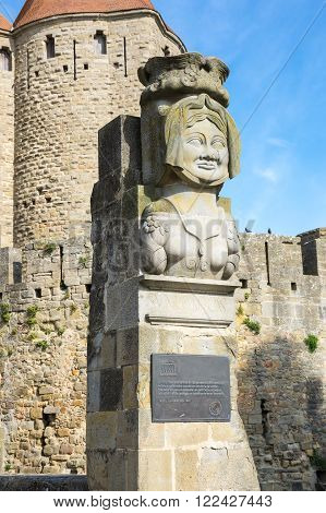 The statue of Dame Carcas of Carcassonne Languedoc-Roussillon France