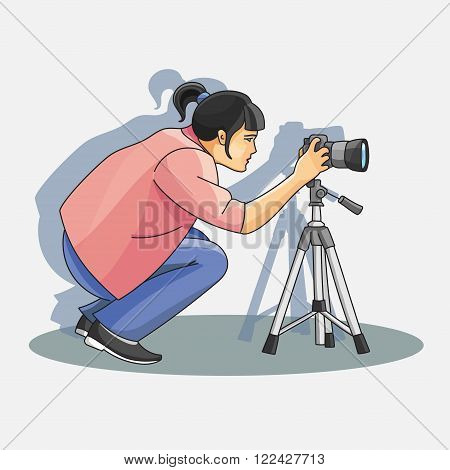 Young female photographer photographing with professional camera standing. Vector illustration, EPS 10
