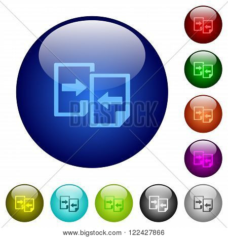 Set of color share documents glass web buttons.
