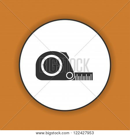 Tape measure icon. Roulette construction simbol. Flat