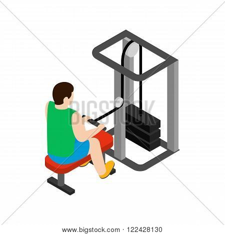 Man training on simulator icon in isometric 3d style isolated on white background