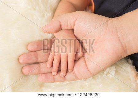 Baby feet in the asian mother hands