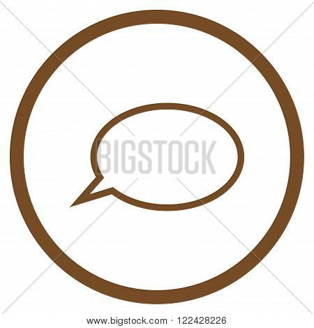 Hint Cloud vector icon. Picture style is flat hint cloud rounded icon drawn with brown color on a white background.
