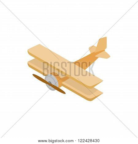 Biplane icon in isometric 3d style on a white background