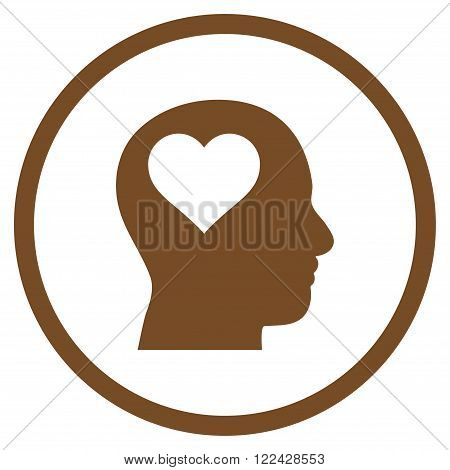 Lover Head vector icon. Picture style is flat lover head rounded icon drawn with brown color on a white background.