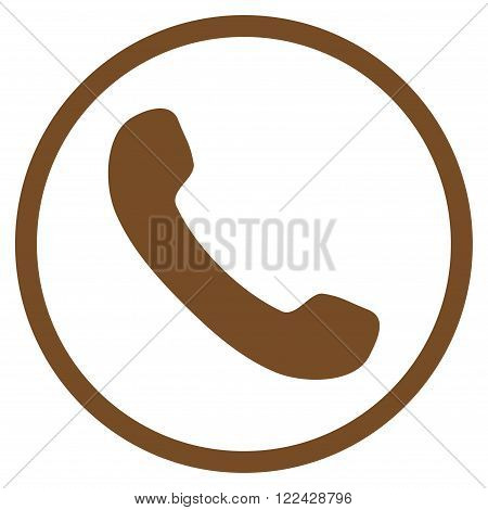 Telephone Receiver vector icon. Picture style is flat phone receiver rounded icon drawn with brown color on a white background.