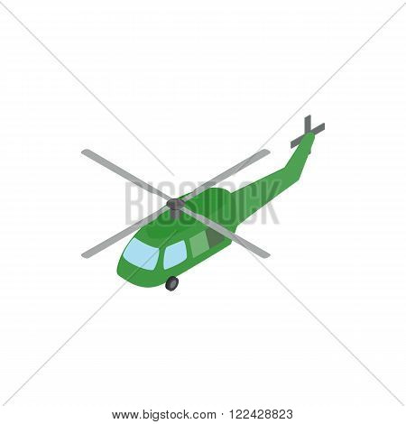Military helicopter icon in isometric 3d style on a white background