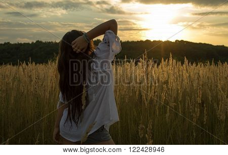 girl admiring the sunset of summer time ** Note: Soft Focus at 100%, best at smaller sizes