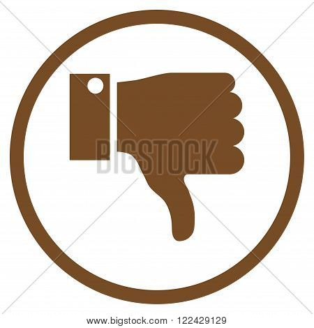 Thumb Down vector icon. Picture style is flat thumb down rounded icon drawn with brown color on a white background.