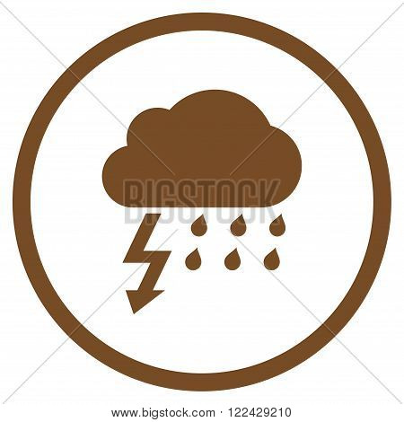Thunderstorm vector icon. Picture style is flat thunderstorm rounded icon drawn with brown color on a white background.