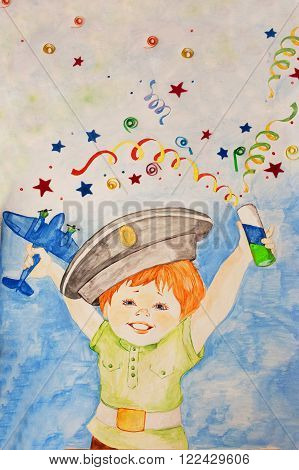 boy child drawing happiness holiday joy party poppers game uniforms cap streamers confetti crayons gouache