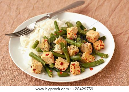 Tofu With Butter Beans, Chilli And Rice