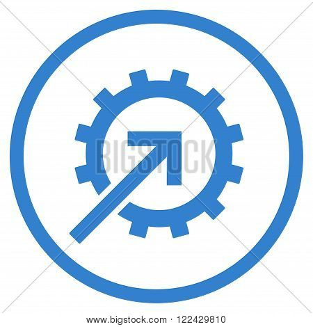 Cog Integration vector icon. Picture style is flat cog integration rounded icon drawn with cobalt color on a white background.