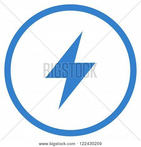 Electric Strike vector icon. Picture style is flat electric strike rounded icon drawn with cobalt color on a white background.