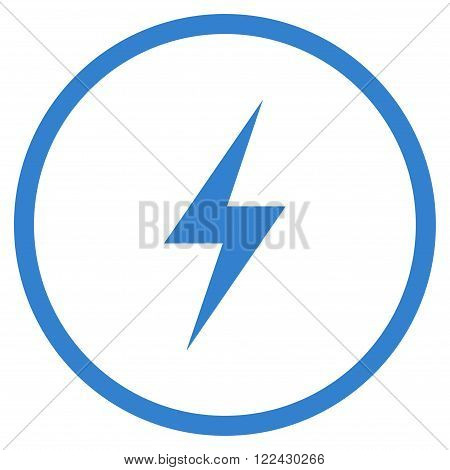 Electricity vector icon. Picture style is flat electricity rounded icon drawn with cobalt color on a white background.