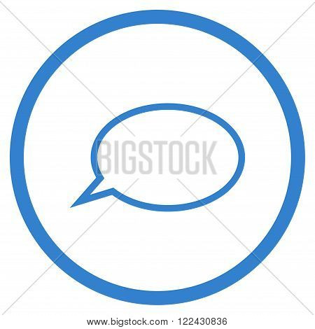 Hint Cloud vector icon. Picture style is flat hint cloud rounded icon drawn with cobalt color on a white background.