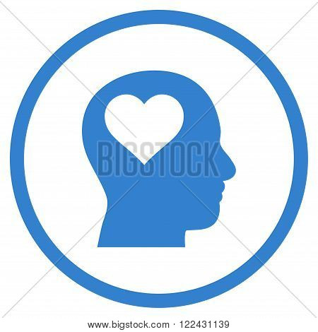 Lover Head vector icon. Picture style is flat lover head rounded icon drawn with cobalt color on a white background.