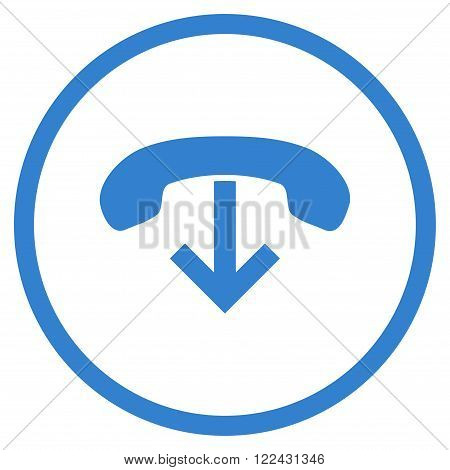 Telephone Hang Up vector icon. Picture style is flat phone hang up rounded icon drawn with cobalt color on a white background.